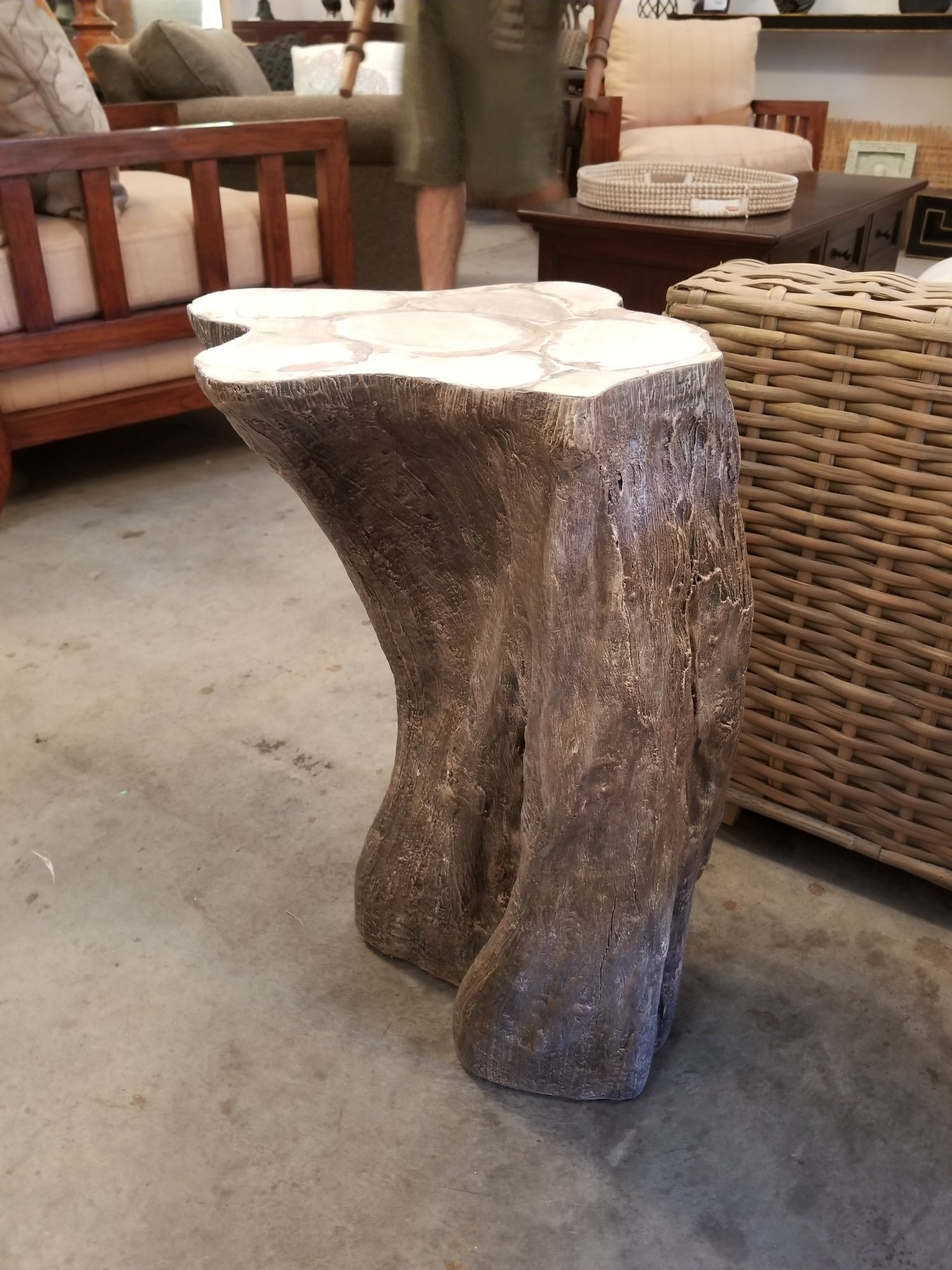 Palecek Chloe Rustic Fossilized Natural Tree Trunk Side End Table