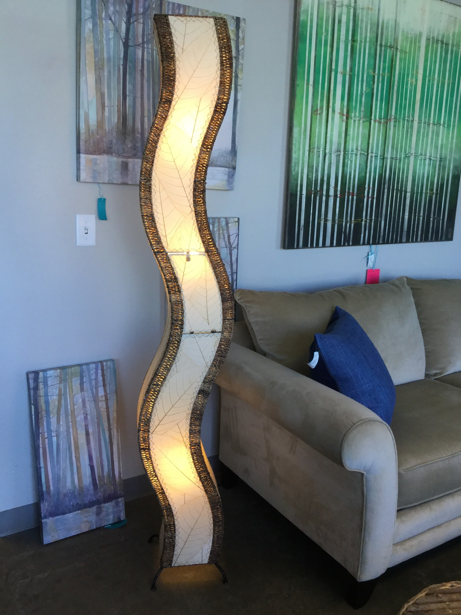 "Wavy Bamboo Leaf Lamp, Natural Tan, Cream, Size: 72"" Tall"