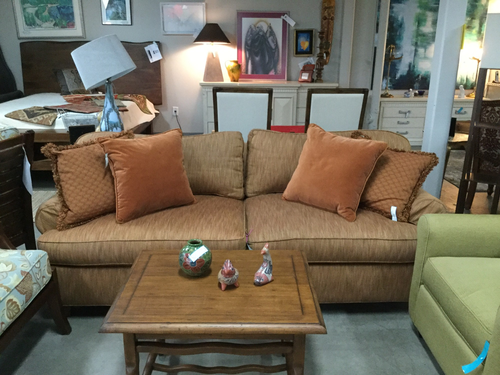 "Pearson Sofa Rolled Arms, As Is, Rust Gold, Size: 87""X38""X29"""