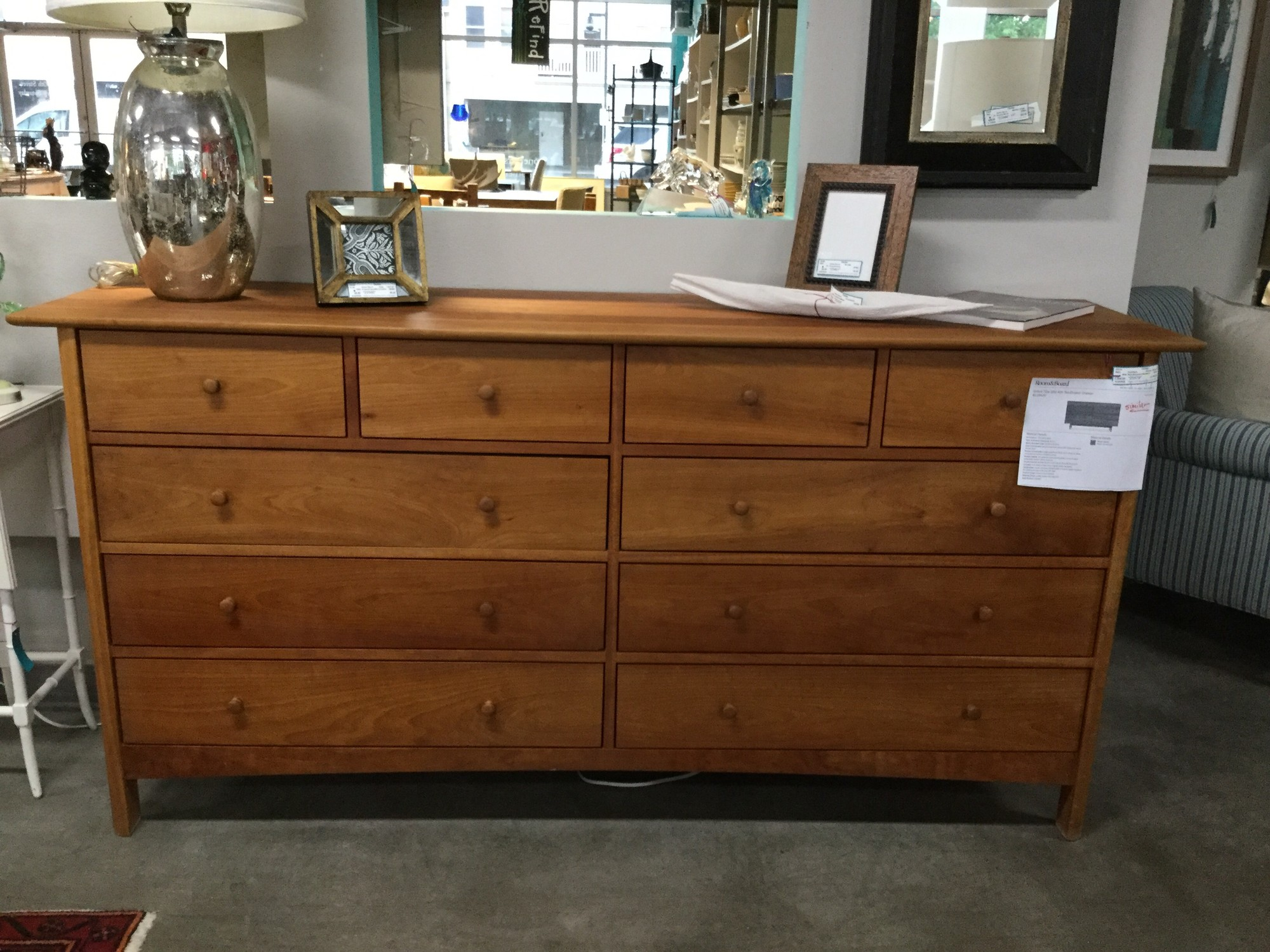 "Restoration Hardware Low Dresser 10 Drawers, Cherry, Size: 38""X20""X76"""