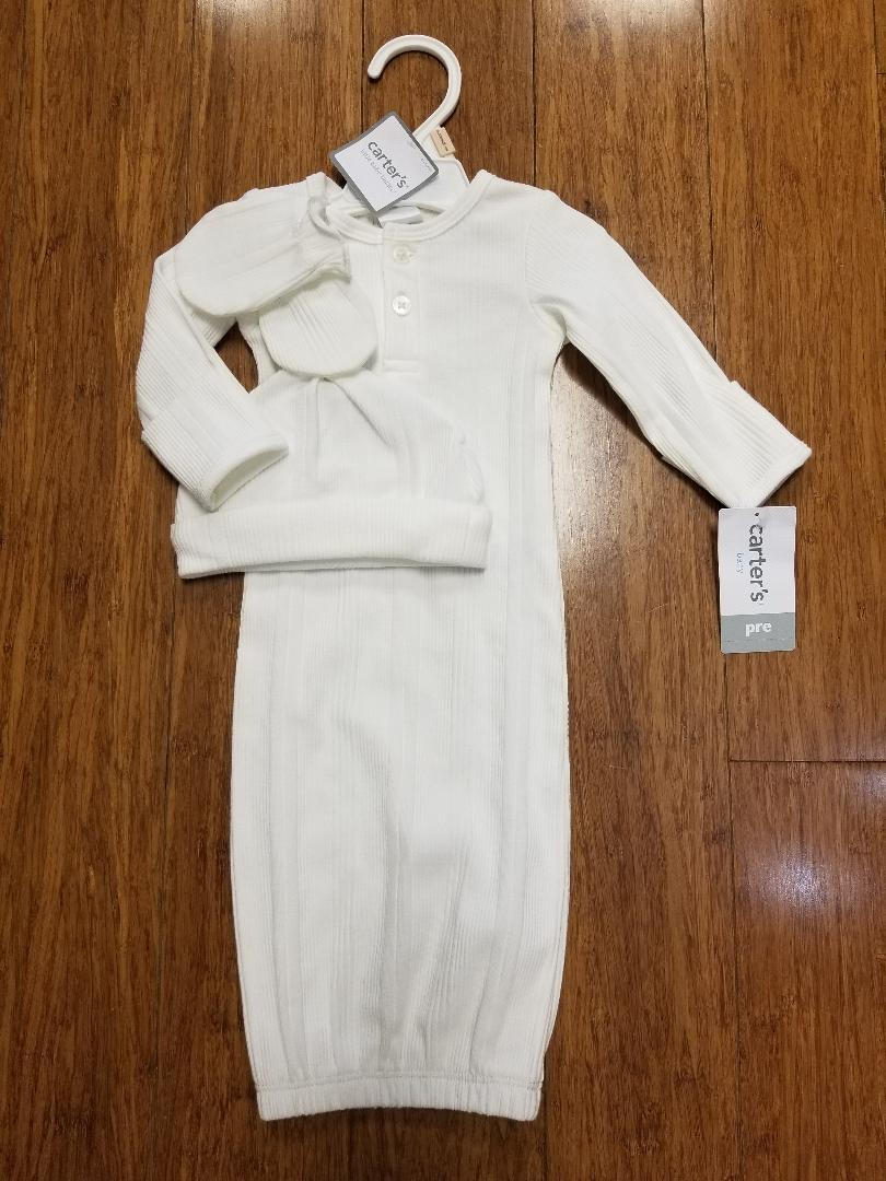 NEW Carters 3pc Gown, Beanie, & Mittens<br /> Size - Preemie<br /> Ivory color, ribbed design