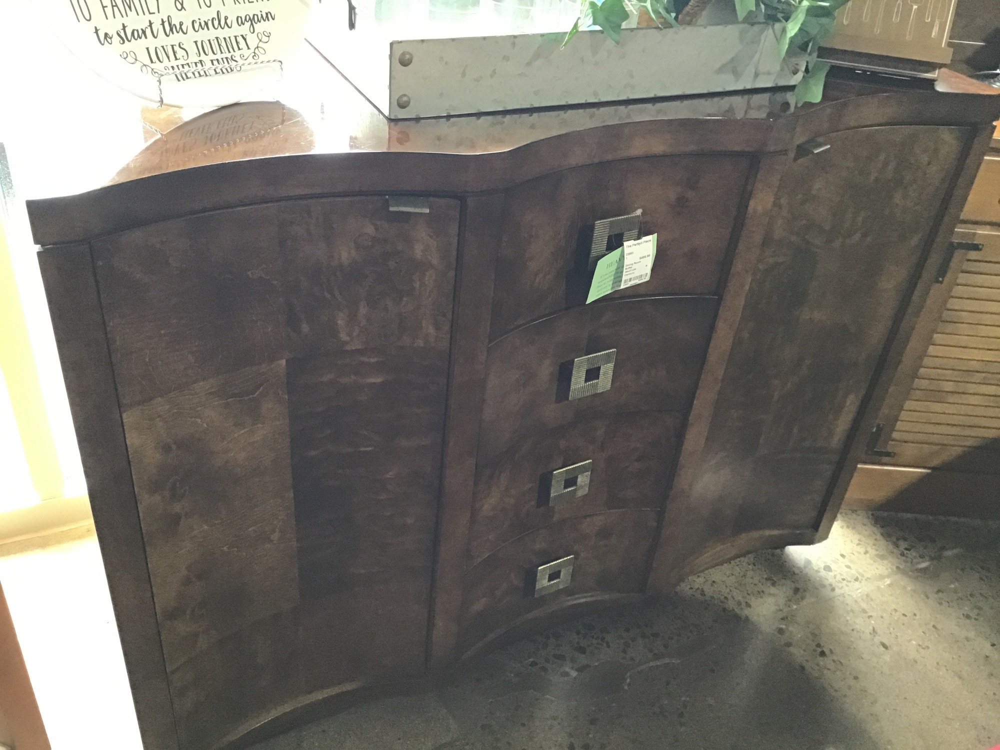 "Beautiful and unique buffet from Century Furniture.  Well constructed (very heavy) piece featuring four drawers down the middle and two doors that each open to 2 shelves inside for storage.<br /> <br /> Dimensions:  46""W x 21""D x 34""H"