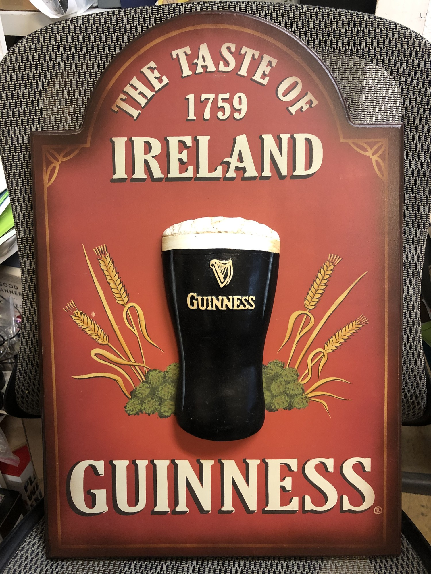 Sign Guinness  3D, Red, Size: 16x24