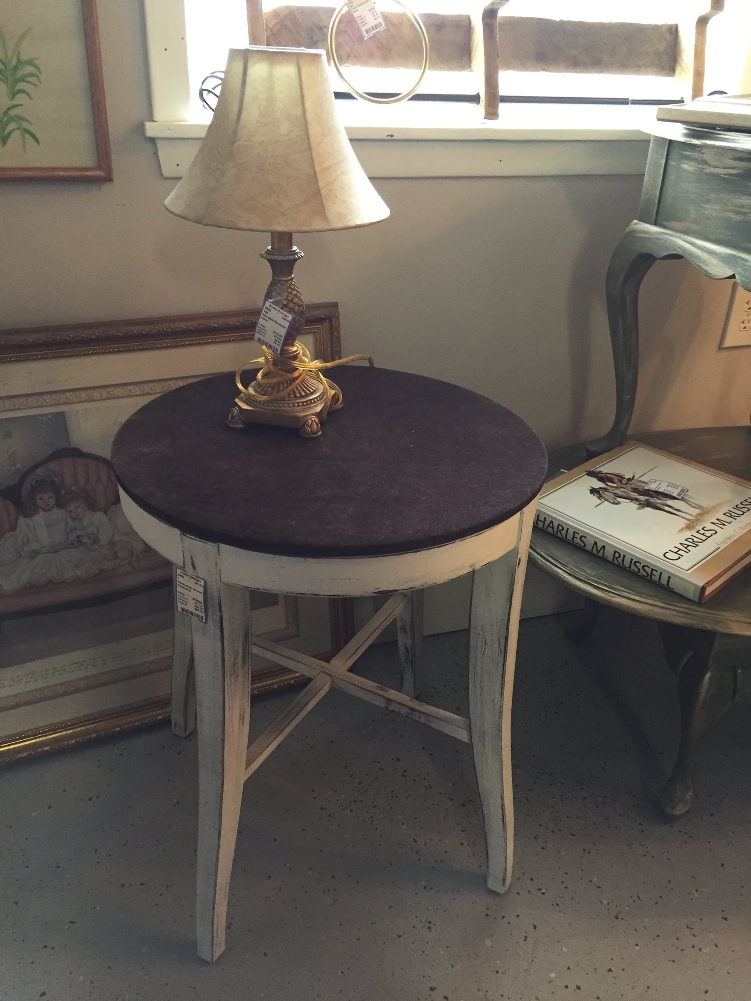 Handcrafted white base with velour top accent table