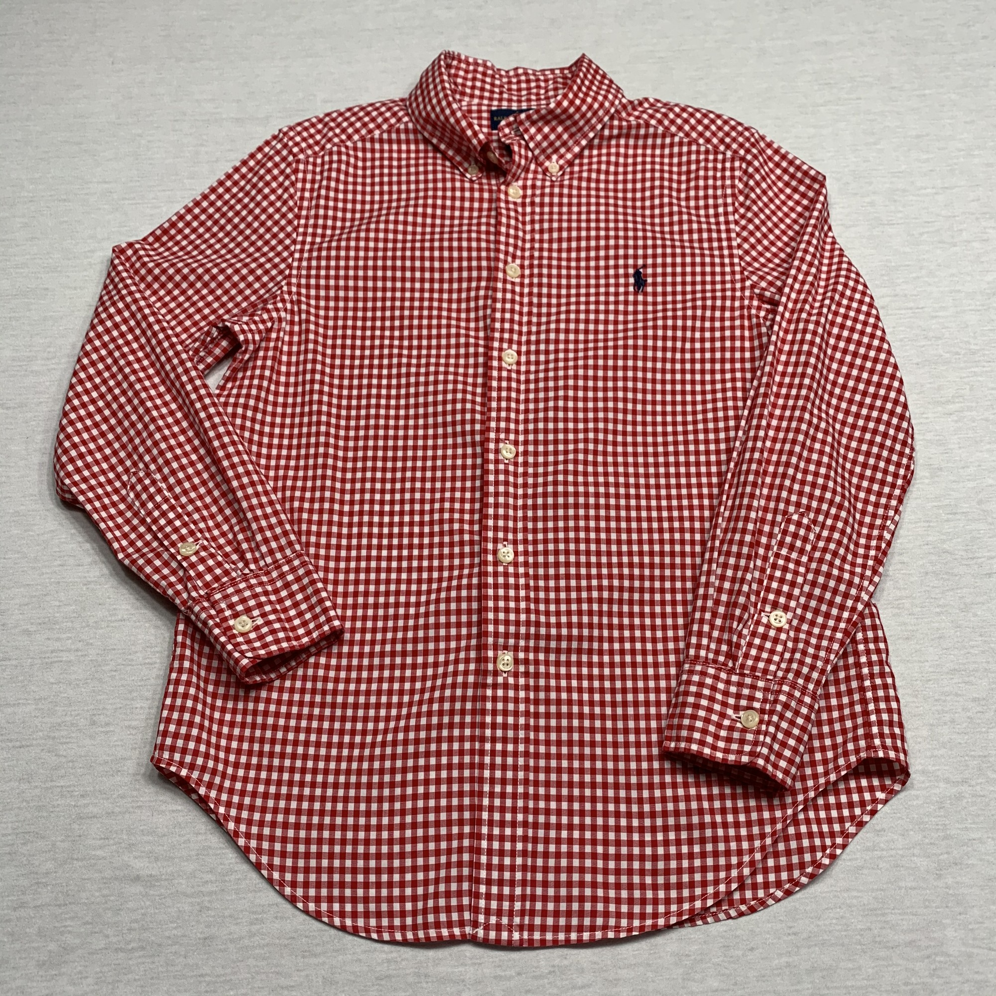 Checked poplin shirt with button down collar