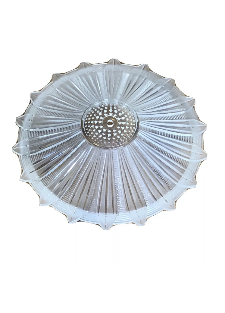 Art Deco Pressed Frosted Glass Sunflower Ceiling Light Shade c. 1930s. Wonderful condition. The last 2 photos show how it can be wired and turned into a chandelier - this is for the shade only!<br /> Will be shipped priority mail.