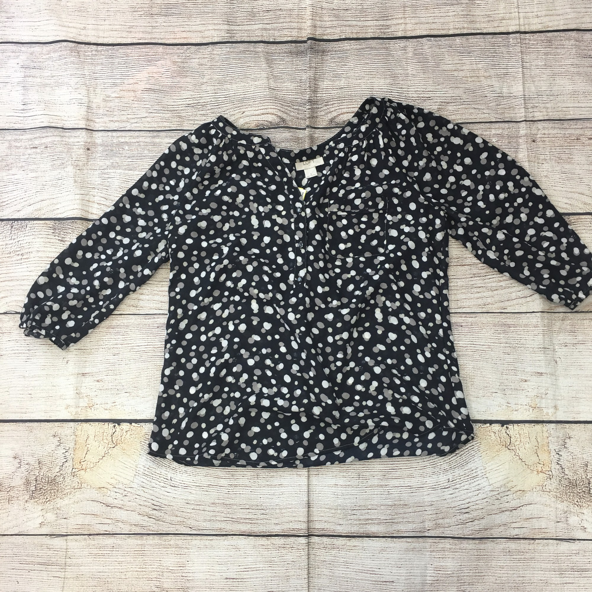 Loft Blouse, navy with a spotted pattern.  In perfect condition!!!