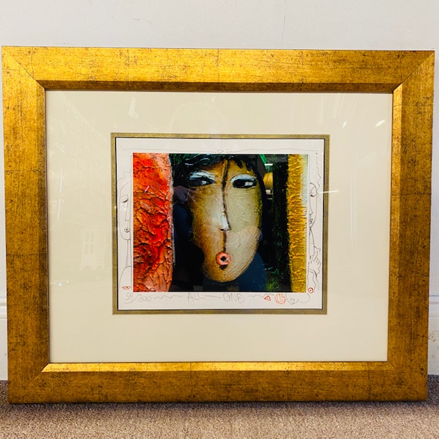 "Long Looi Lee All One Woman Gold Frame<br /> Gold Black Red Size 24"" X 20""<br /> Certificate of Authenticity on File"
