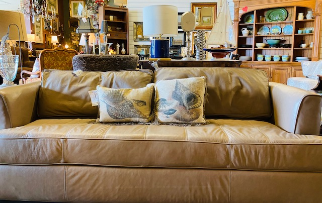 Norwalk Leather Sofa<br /> Taupe  Size: 81x36x29H<br /> As Is Minor signs of wear