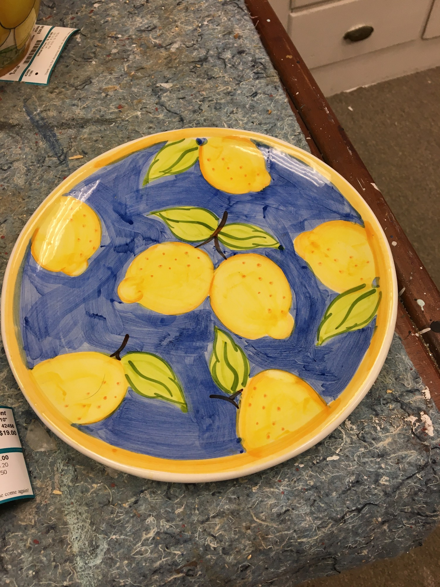 Lemon Deco Plate, Blue -Yl, Size: 10""