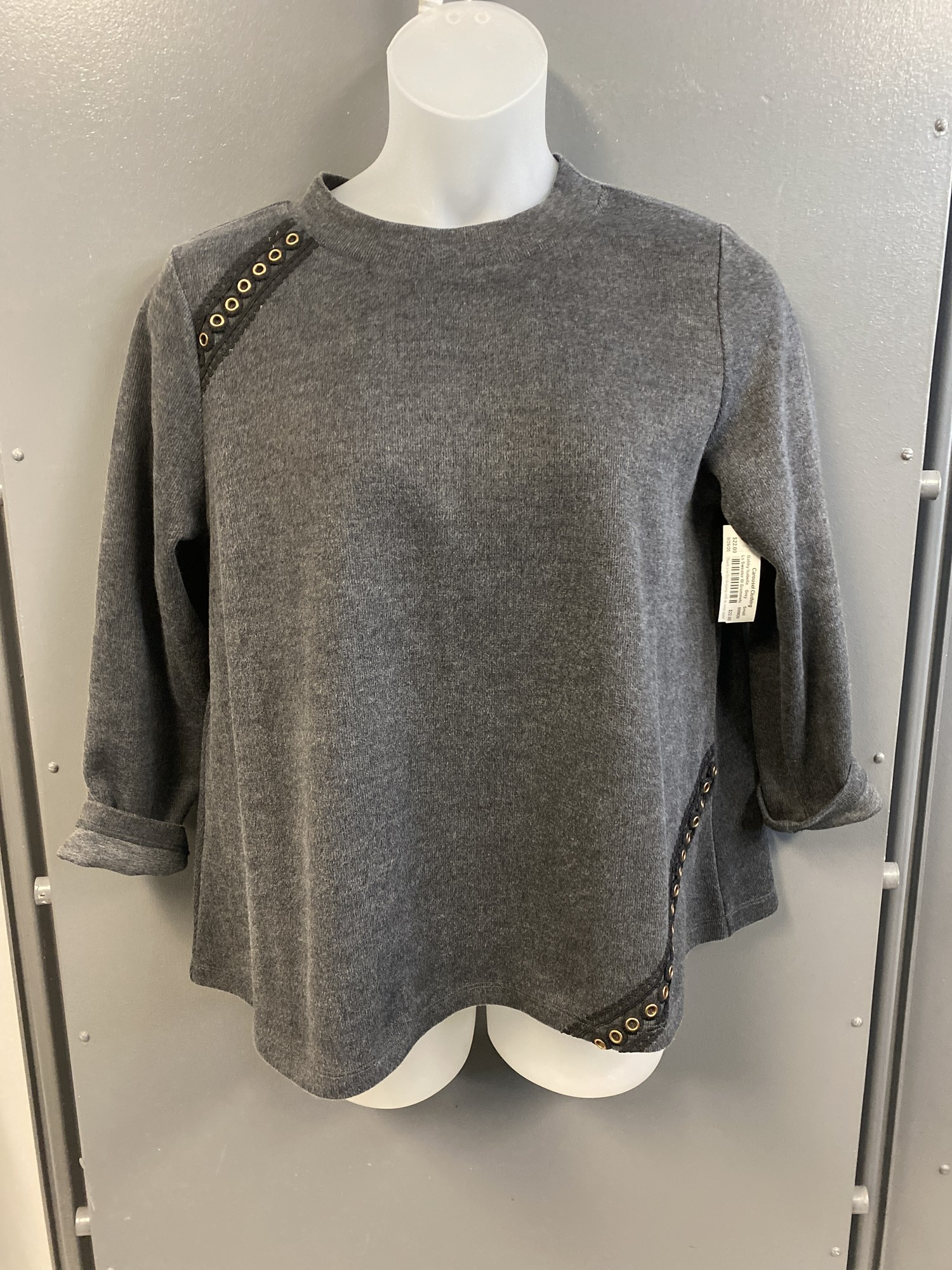 Ls Sweater W Grommets, Grey, Size: Small