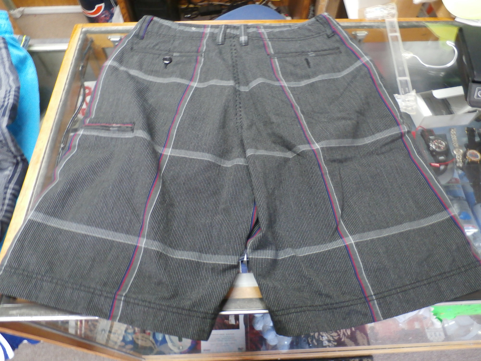 7e5d22e7d0 Champs Sports Gear shorts black plaid size 32 polyester/rayon blend  #22066<br