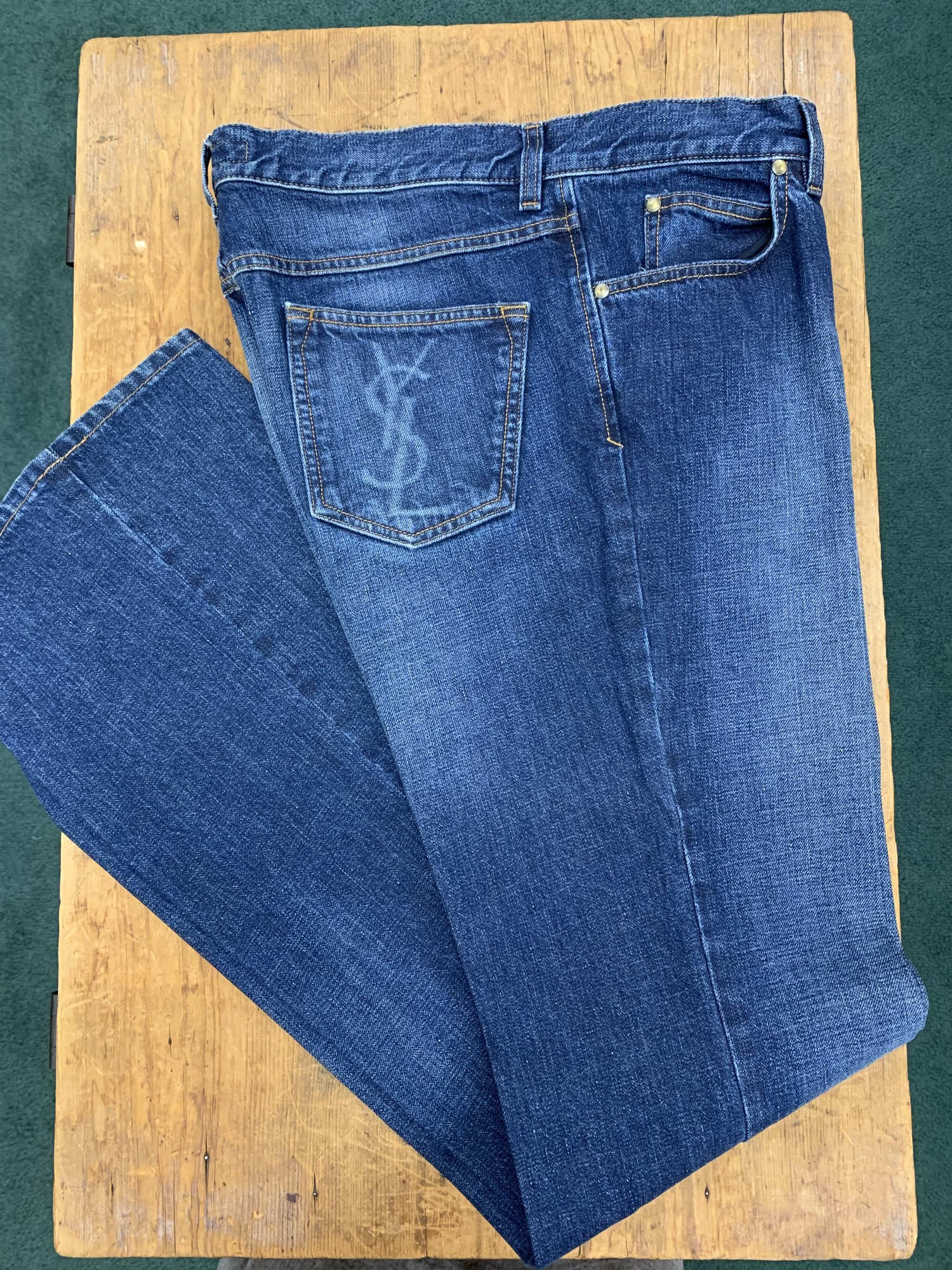 ** Yves Saint Laurent **<br /> Color: Denim<br /> Size: 36W 36L<br /> Condition: Excellent