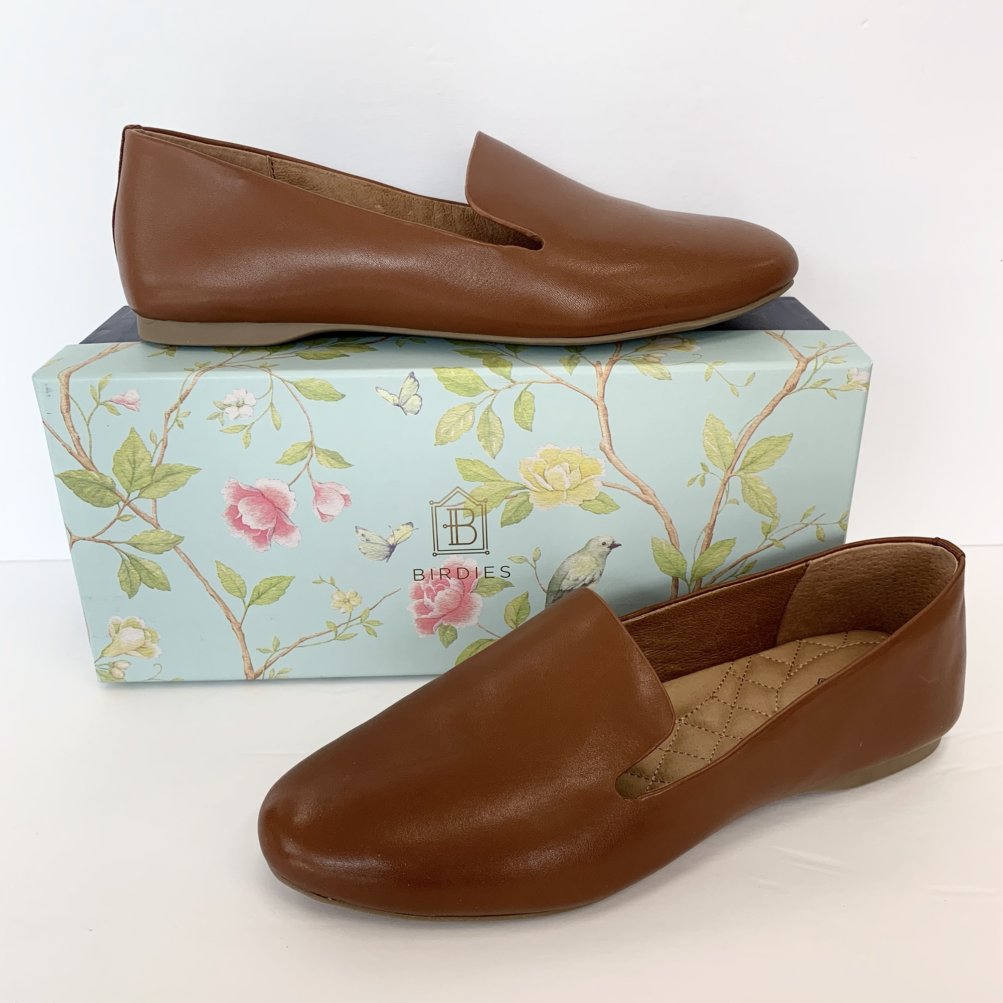 "Birdies ""The Starling"" Shoes<br /> Cognac Leather<br /> Size: 9"