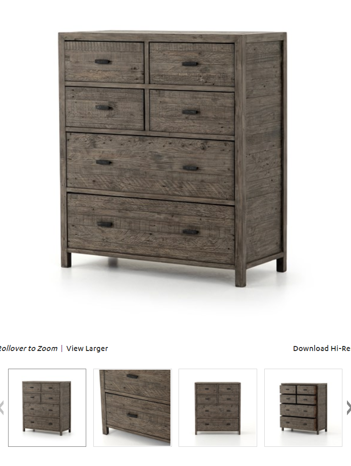 Caminito 6 Drawer, Size: 41.25Wx18.75Dx47.26H<br /> Reclaimed character woods are weathered to a rustic black olive finish with a soft hand.Accented by rough-cast brass hardware with a gunmetal finish.