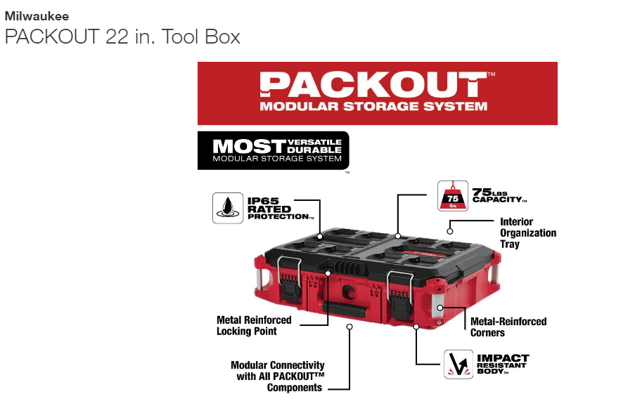 22in Tool Box, Milwaukee PACKOUT 22 in. Tool Box<br /> The PACKOUT modular storage system is the industry's most durable and versatile storage system. The PACKOUT tool box is constructed with impact resistant polymers and metal reinforced corners so it can withstand harsh jobsite environments. The tool storage box connects with all other PACKOUT system components via integrated locking cleats and features a 75 lbs. of weight capacity. An IP65 rated weather seal protects tools and accessories from rain and other jobsite debris. Interior organizer trays allow users to keep equipment organized to fit their needs. A carry handle and reinforced hinges ensure the tool box is easily transportable wherever it is needed. The PACKOUT modular storage allows users to customize and build their own storage system to easily transport and organize tools and accessories.<br /> <br /> IP65 rated weather seal<br /> Metal reinforced corners<br /> Metal reinforced locking point<br /> Interior organizer trays<br /> Mounting location for the ONE-KEY TICK<br /> Heavy duty latches<br /> Reinforced hinge