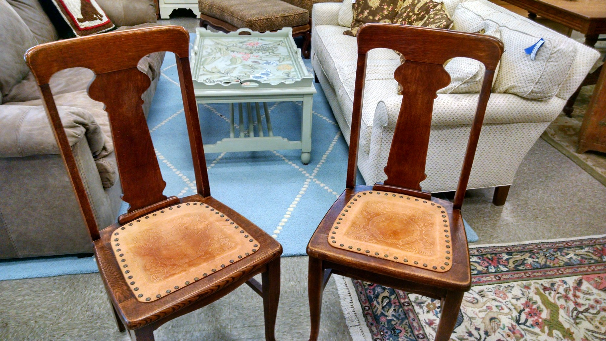2 Leather Seat Chairs