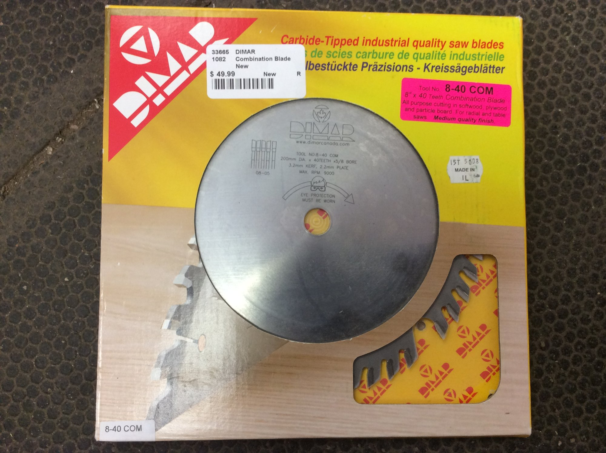 DIMAR 8-40 8-Inch 40-Tooth Carbide Tipped Combination Blade.<br /> <br /> *NEW, NEVER USED*