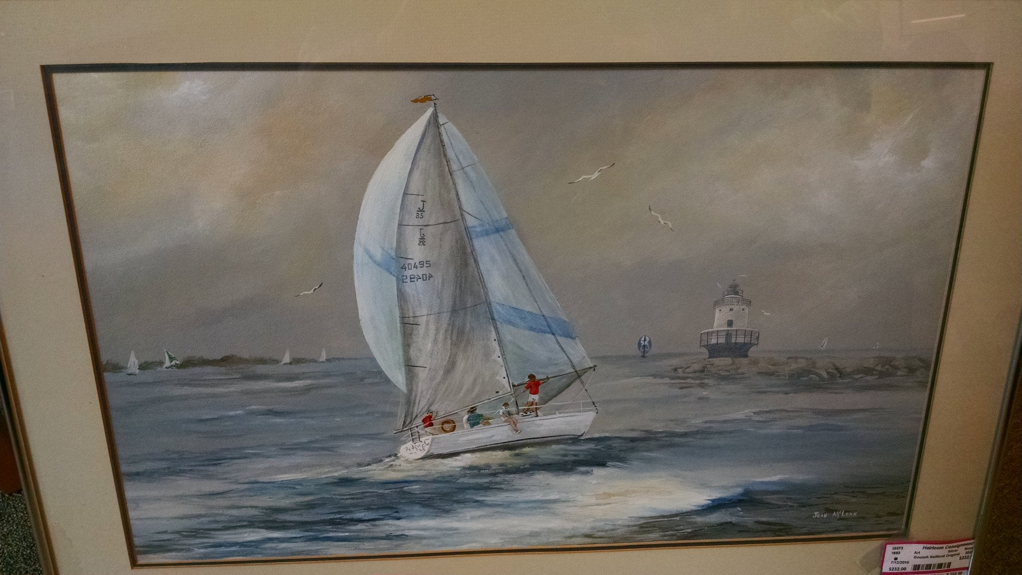 Beautiful gouash on board by Joan McLean. Great layering of color in the sky, water and sails of this lovely dipiction of a summers day.