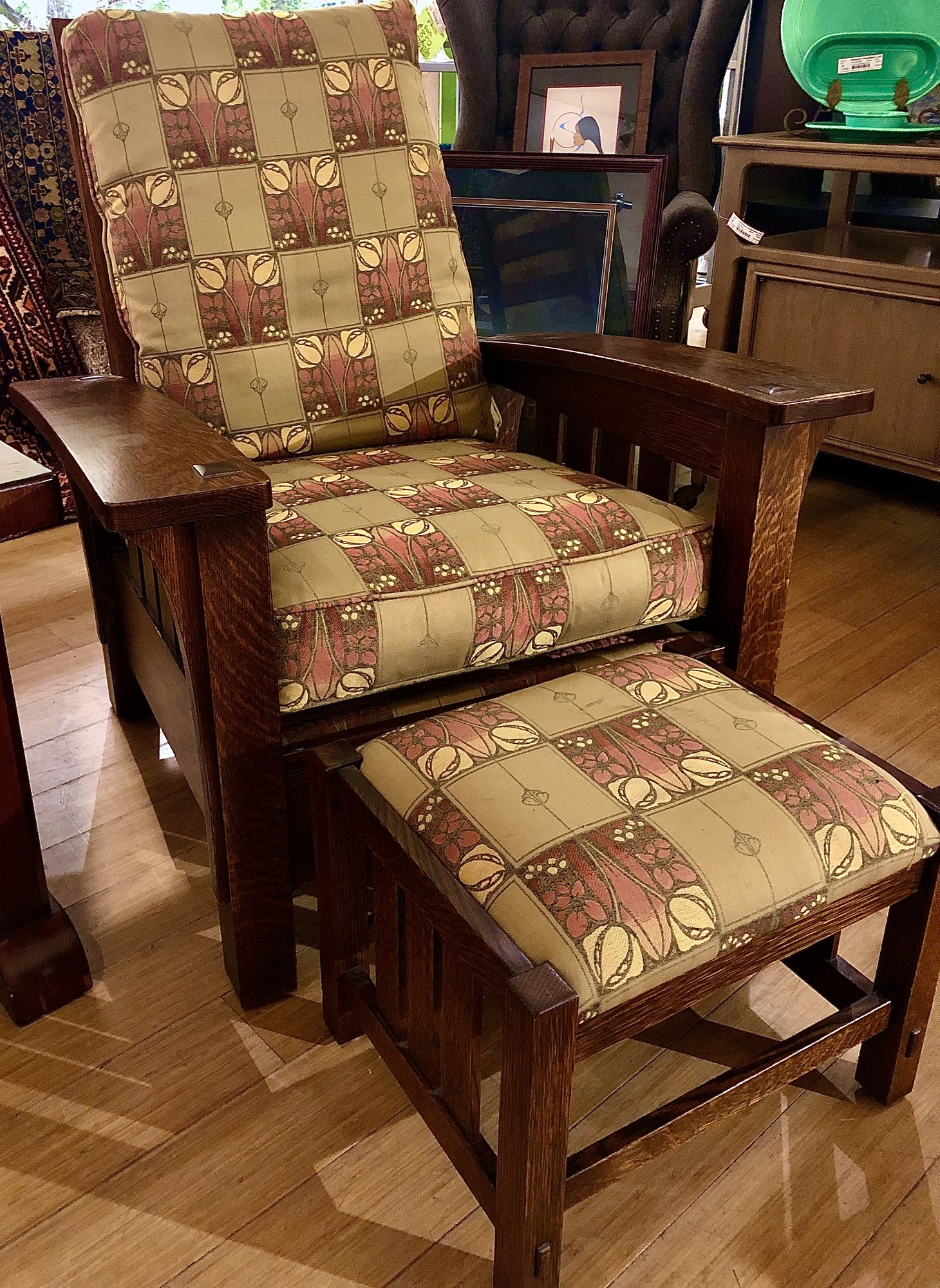 Chair & Ottoman Stickley, Wood, 2 Pcs.<br /> Matching chair & ottoman available - #84609 $959