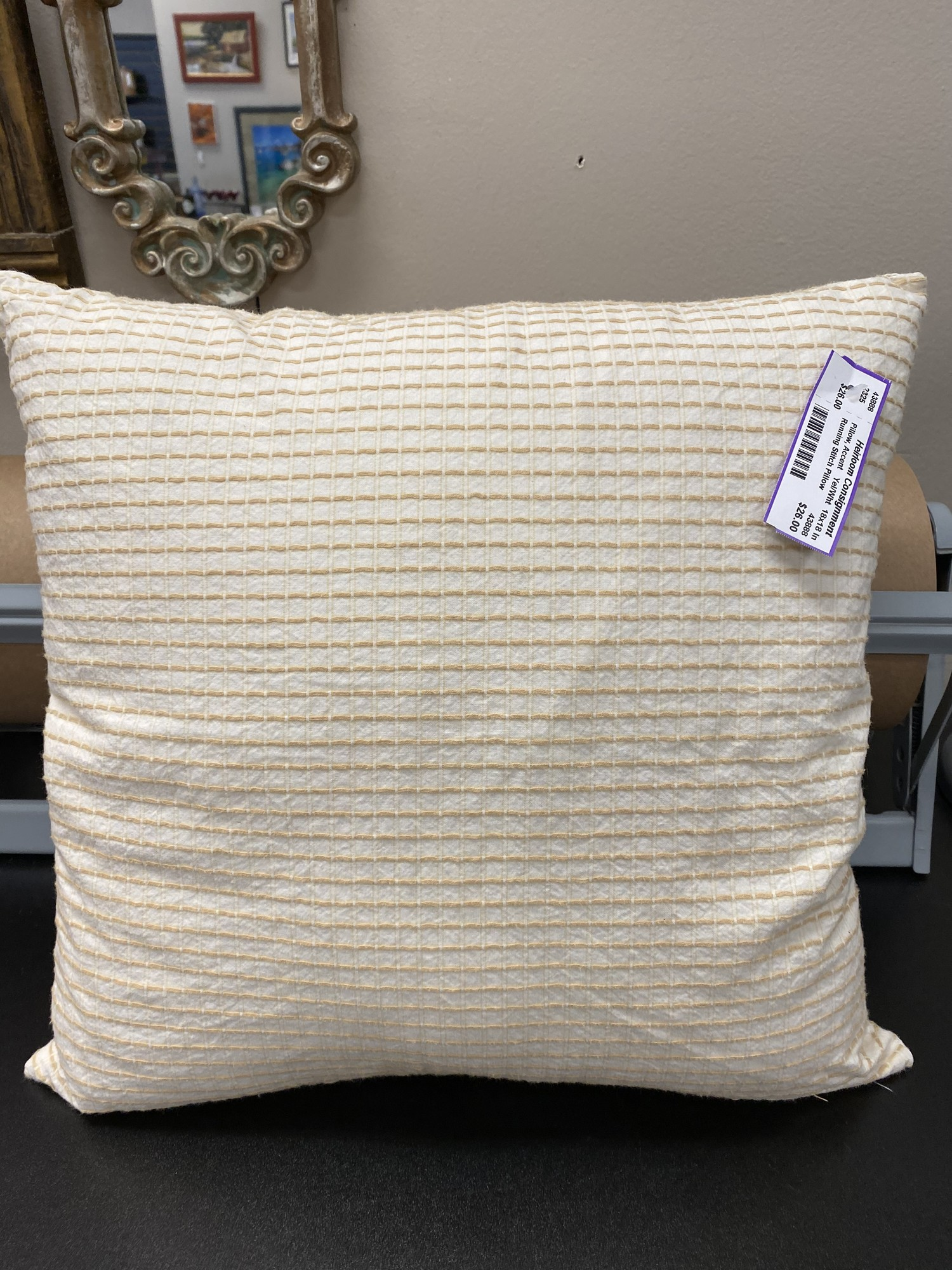Running Stitch Pillow, Yel/Wht, Size: 18x18 In