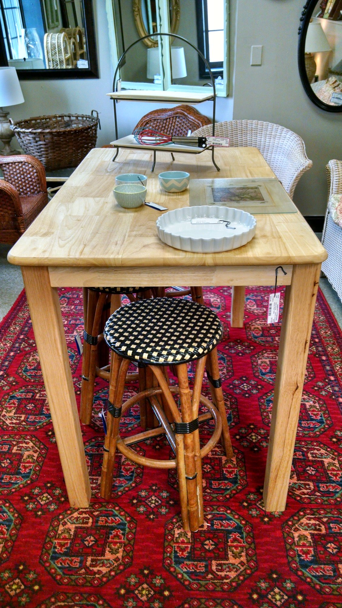 Parson S Style Tall Table With An Unfinished Top Treated Food Grade Butcher Block Oil So