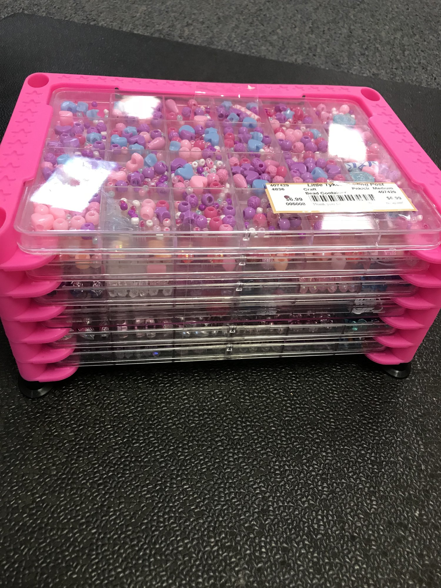 Plastic Bead Container w/6 trays filled with beads and supplies.  In excellent condition!  NO SHIPPING