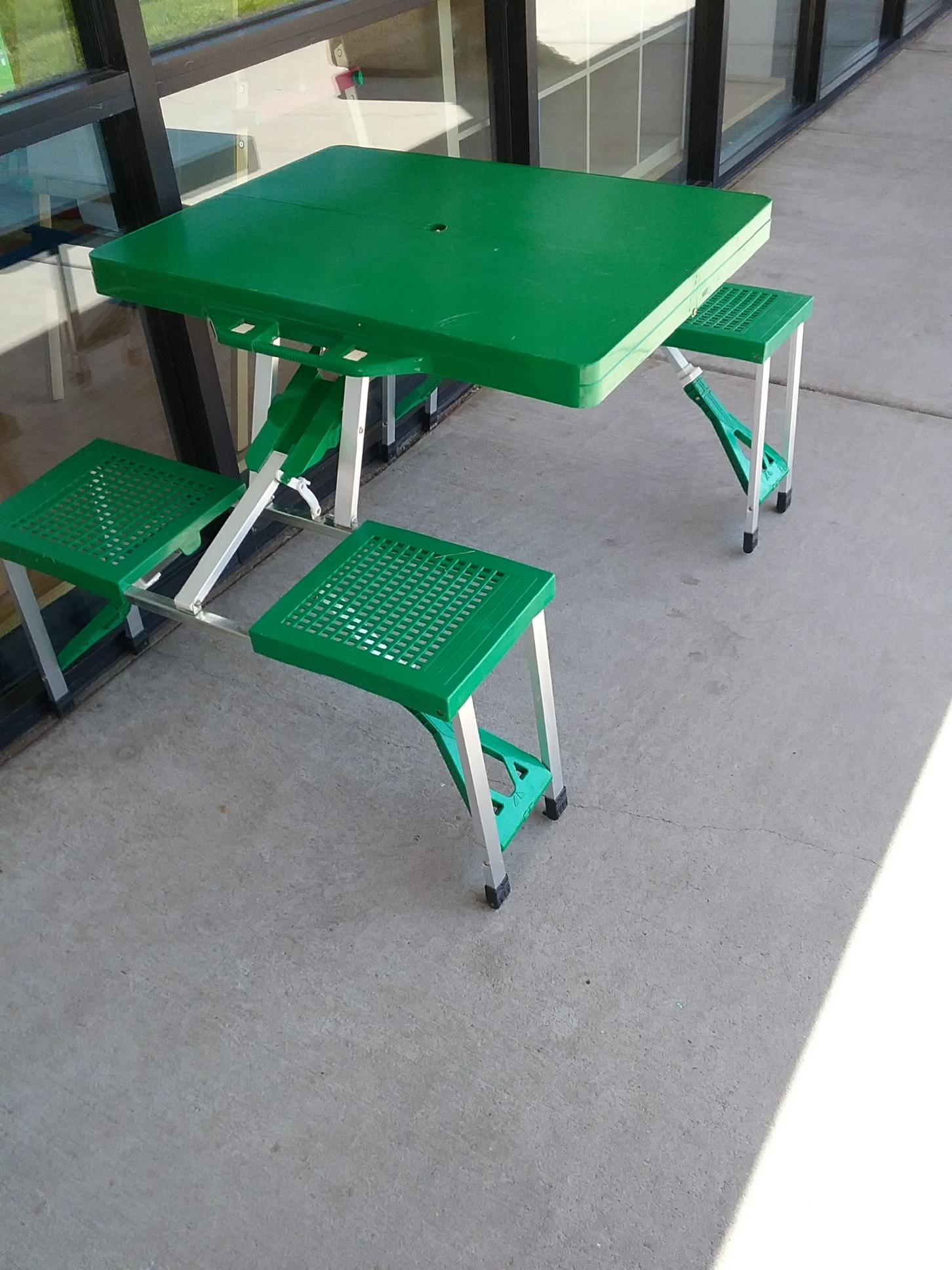 Folding Picnic Table great for camping! Folds flat into is own case.  Retails new at Home Depot for $58.  NO SHIPPING-in store pick up only