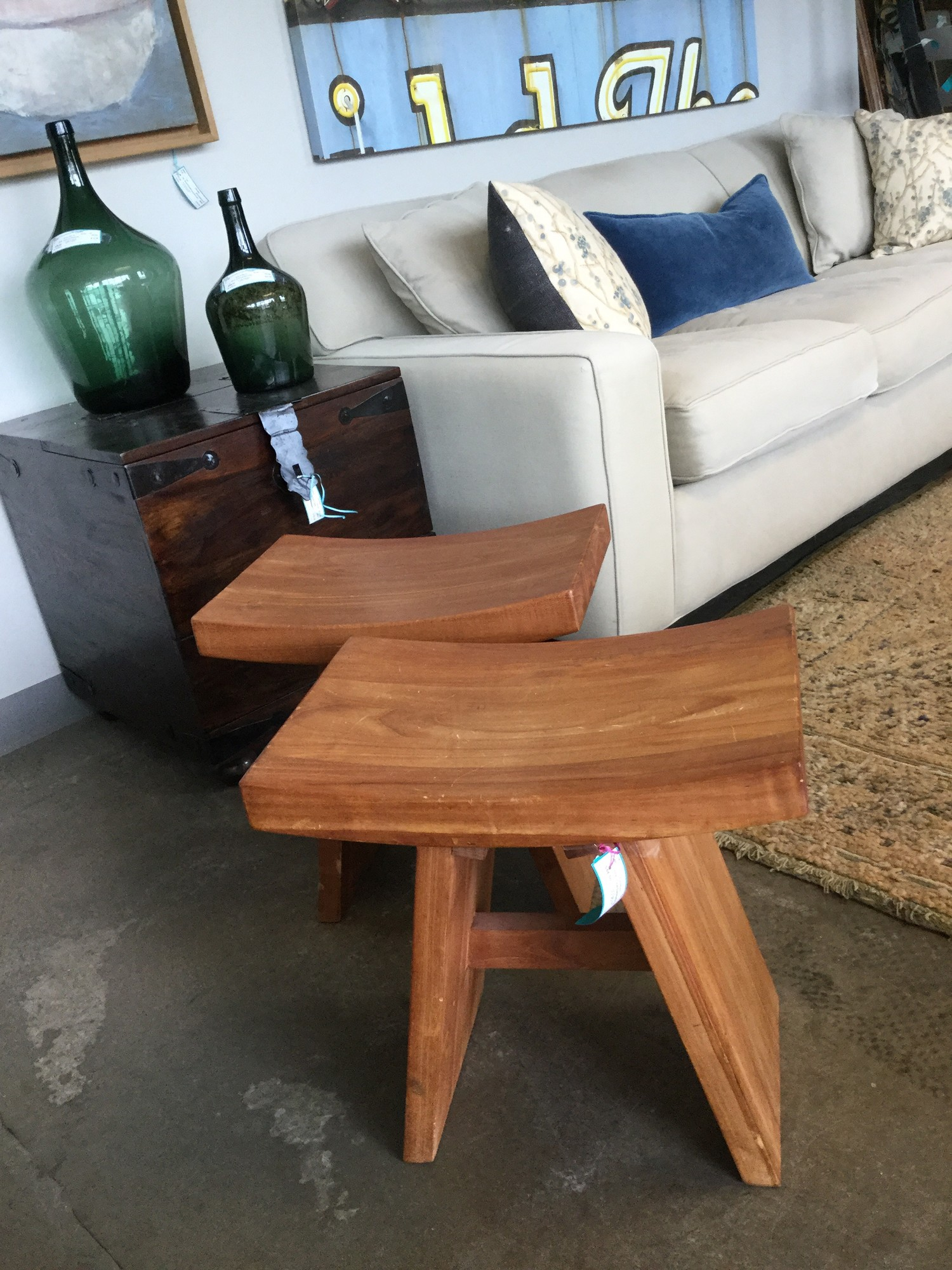 "TeakSaddleStool, 17"", Size: Wood"
