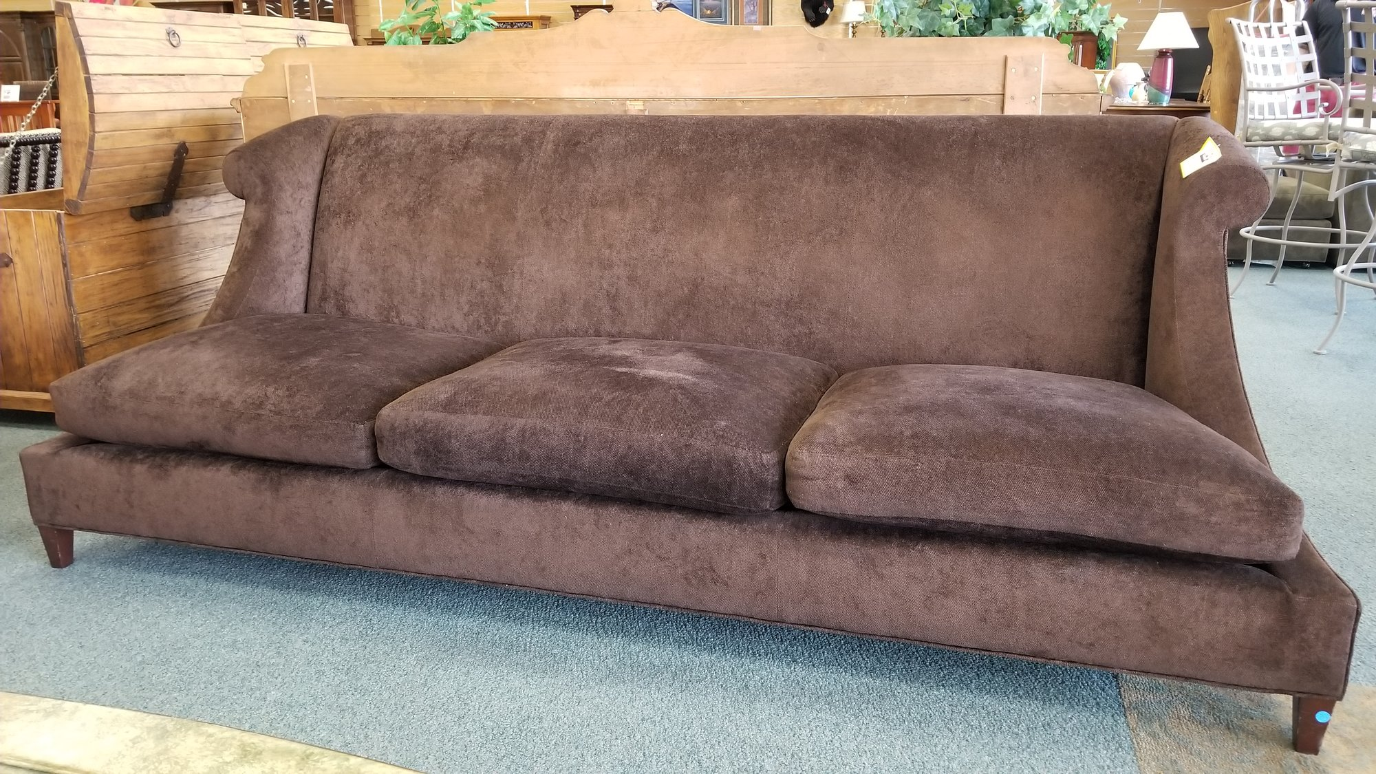 Contemporary Style Sofa, Made By Baker Furniture. Upholstered In Chocolate  Brown Fabric. This