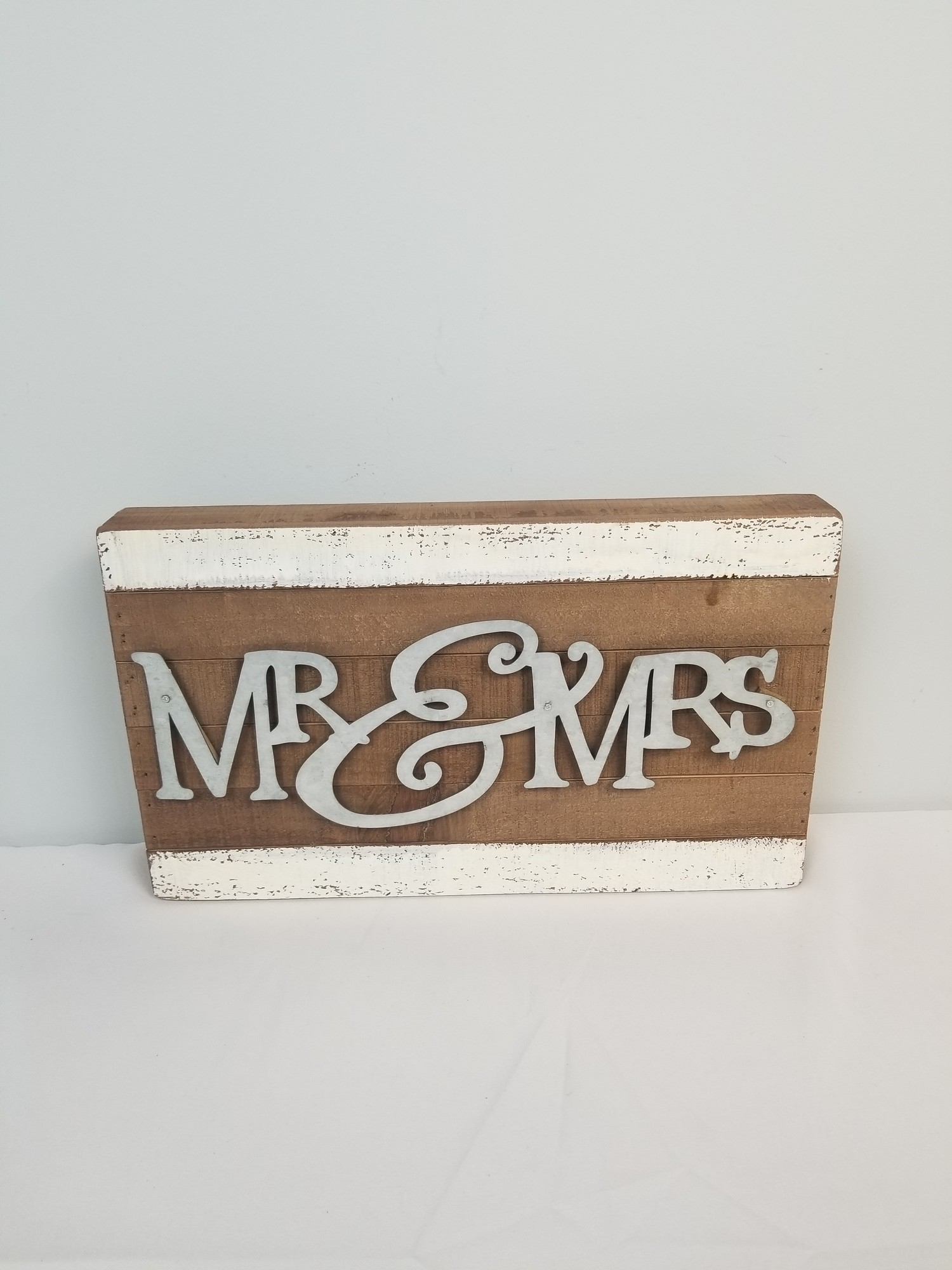 Mr&Mrs Tin/Wood, Brown/Silver, Size: 9x15