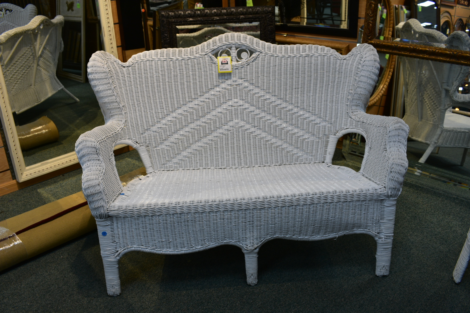 Wicker Patio Bench Painted White. Excellent Condition.