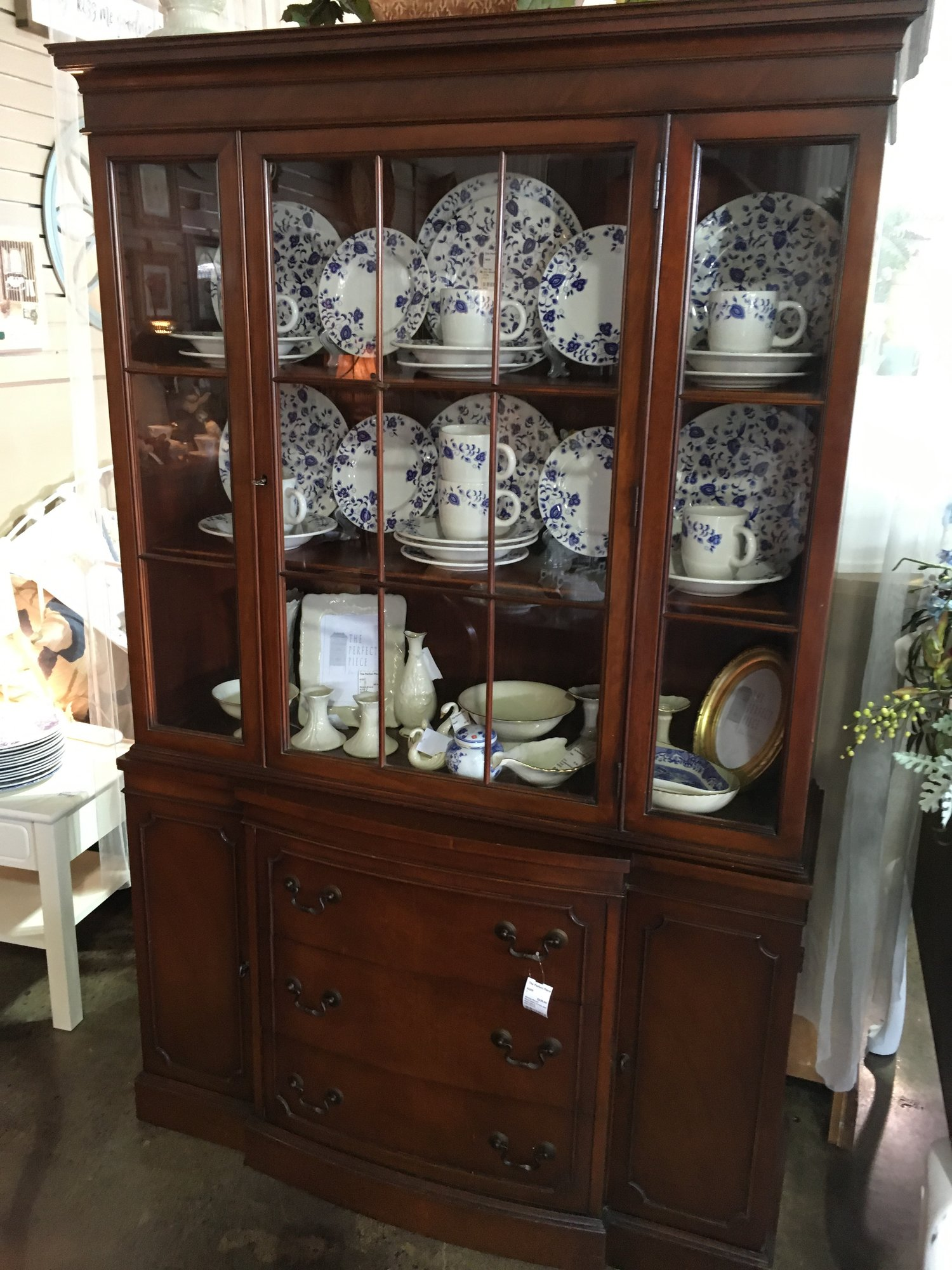 This pretty antique china cabinet has 3 drawers and 2 doors on the bottom  and glass - Mahogany China Cabinet The Perfect Piece Home Furnishings