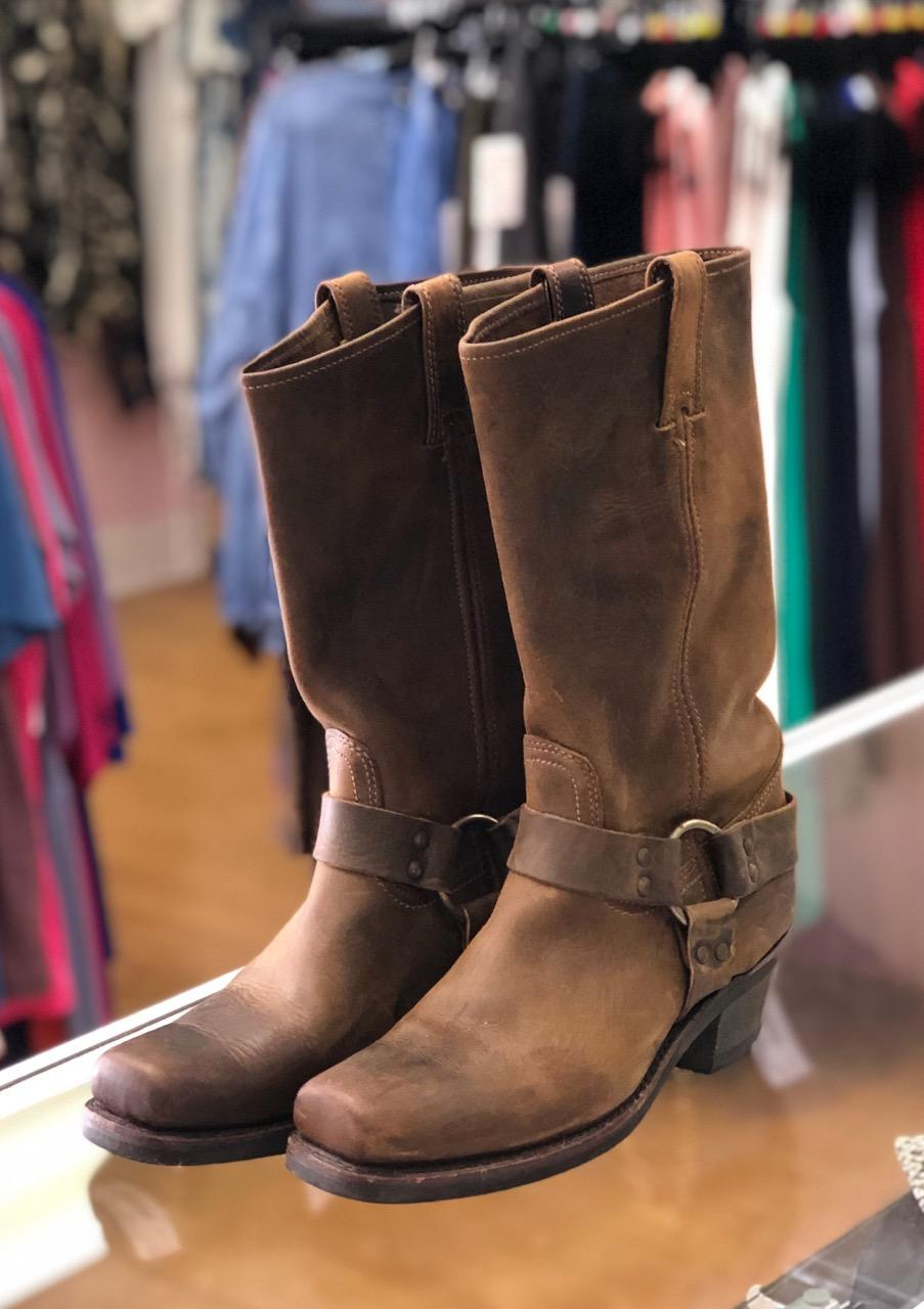 "FRYE (Harness R12) Boots, Brown, Size: 9<br /> These are Available On-line NOW for $428.00<br /> Nothing says American Craftsmanship like the Frye Harness Boot. Inspired by the Civil War cavalry, this iconic boot is American craftsmanship at its best. Not for the faint of heart, this boot is uncompromising and gets better with age. Unlined with rugged, rubber bottoms, it needs a certain type to make this boot her own. Made in USA and sourced from domestic and imported products.<br /> - Goodyear welt construction<br /> - 11 1/2"" shaft height<br /> - 14"" shaft circumference<br /> - 1 3/4"" heel height"