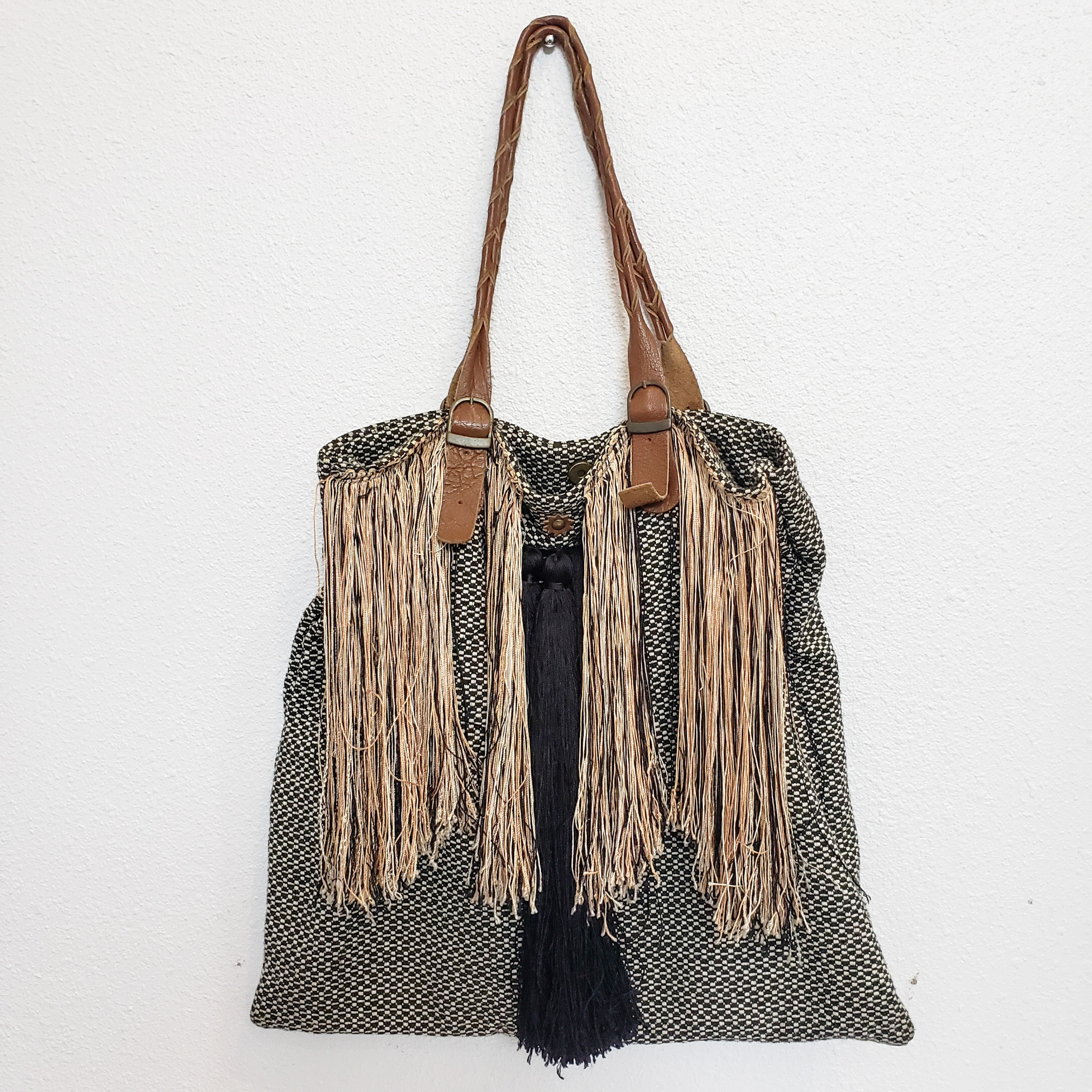 Jasper & Jeera<br /> Black and Tan Fringed Satchel<br /> From Anthropologie
