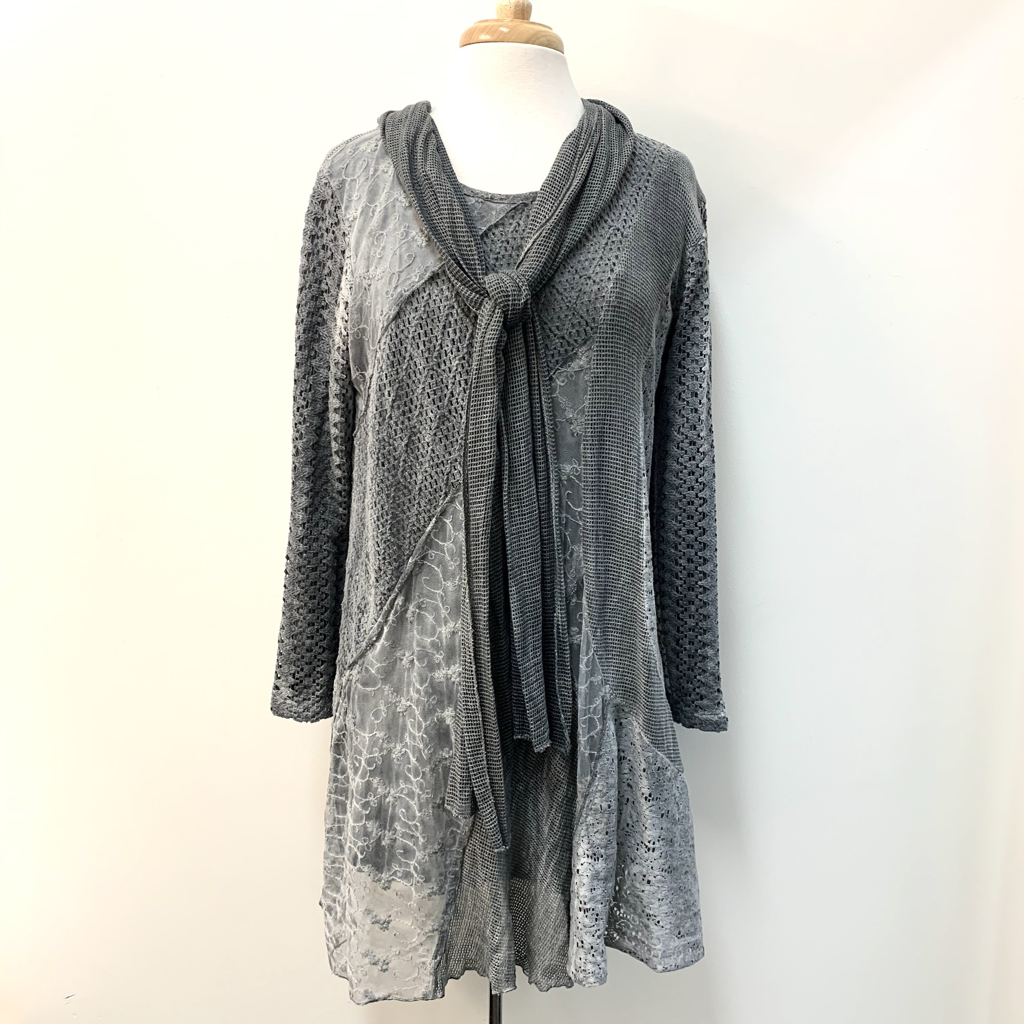 Sacred Threads Tunic & Scarf Set<br /> Gray Lace<br /> Size: Small/Medium