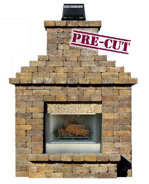 Olde english wall outdoor fireplace kit cromwell concrete for Precast concrete outdoor fireplace kits
